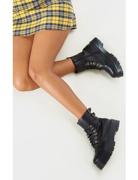 Black Military Chunky Ankle Boot by Prettylittlething