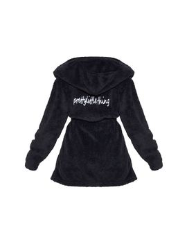 Prettylittlething Black Fluffy Dressing Gown by Prettylittlething