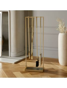 4 Piece Bend Gold Standing Fireplace Tool Set by Crate&Barrel