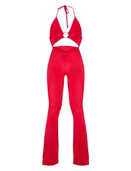 Scarlet Plunge Ring Detail Flare Leg Jumpsuit by Prettylittlething