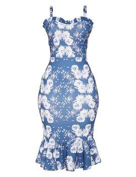 Navy Floral Print Sweetheart Frill Hem Midi Dress by Prettylittlething
