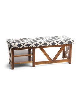 Fabric And Wood Bench With Storage by Tj Maxx