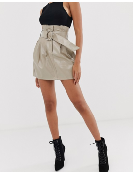 4th & Reckless Paperbag Pu Buckle Skirt In Mocha by 4th & Reckless