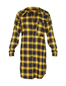 Yellow Checked Oversized Boyfriend Shirt Dress by Prettylittlething