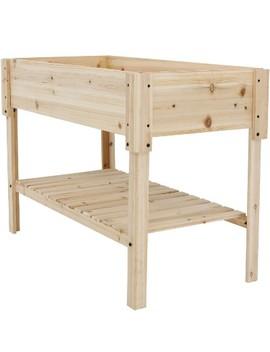 "30"" Raised Wood Garden Bed Planter Box With Shelf   Sunnydaze Decor by Sunnydaze Decor"