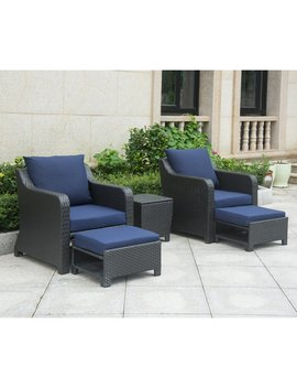 Pennell 5 Piece Rattan Conversation Set With Cushions by Andover Mills