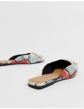 Asos Design Leader Mis Match Embellished Ballet Flats In Snake by Asos Design