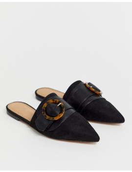 Asos Design Limit Buckle Pointed Mules In Black by Asos Design