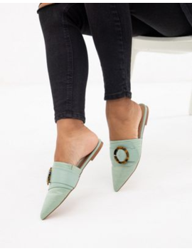 Asos Design Limit Buckle Pointed Mules In Mint by Asos Design