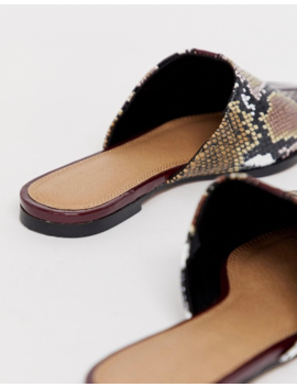 Asos Design Look Up Pointed Mules In Snake by Asos Design