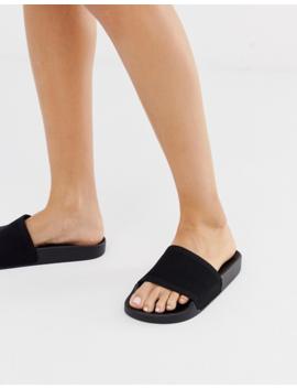 Asos Design Flipside Knitted Pool Sliders In Black by Asos Design