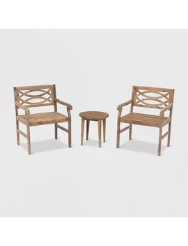 Fontana 3pc Acacia Outdoor Cafe Set   Taupe Brown   Courtyard Casual by Taupe Brown