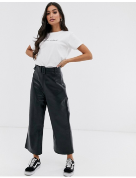 Fashion Unioin Petite Wide Leg Crop Trouser With Belt Detail In Pu by Fashion Union