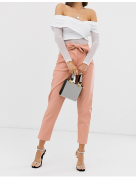 Missguided Faux Leather Trousers With Tie Waist In Peach by Missguided