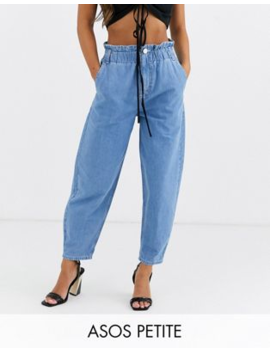 Asos Design Petite Soft Peg Jeans In Light Vintage Wash With Elasticated Cinched Waist Detail by Asos Design