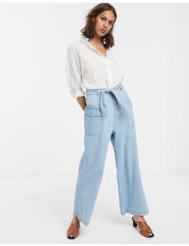 Asos Design Wide Leg Lightweight Jean With Side Pocket Detail In Light Blue Wash by Asos Design
