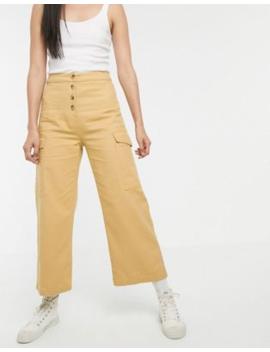 Asos Design Wide Leg Lightweight Jean With Button Detail In Marigold by Asos Design