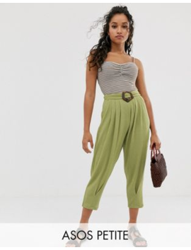 Asos Design Petite Textured Balloon Trouser With Buckle by Asos Design