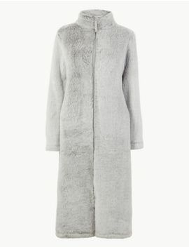 Fleece Zip Up Dressing Gown by Marks & Spencer