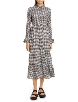 Gingham Print Crepe Long Sleeve Midi Dress by Ganni