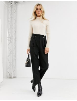 New Look Button Detail Pleated Trouser In Black by New Look