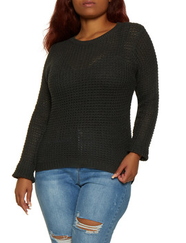Plus Size Long Sleeve High Low Sweater by Rainbow