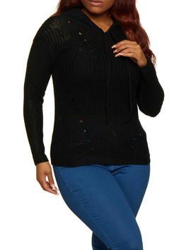 Plus Size Solid Hooded Sweater by Rainbow