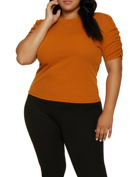 Plus Size Crepe Ruched Sleeve Top by Rainbow