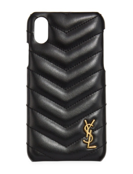 I Phone Xs Quilted Leather Phone Case by Saint Laurent