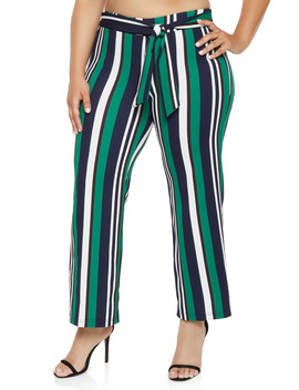Plus Size Striped Tie Front Wide Leg Pants by Rainbow
