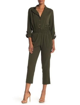 Notch Collar Roll Sleeve Jumpsuit by One One Six