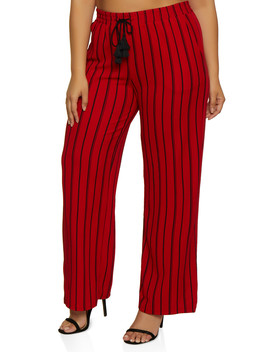 Plus Size Striped Tassel Palazzo Pants by Rainbow