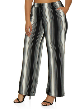 Plus Size Tassel Striped Palazzo Pants by Rainbow