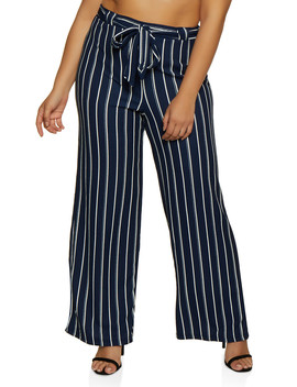 Plus Size Textured Striped Tie Front Palazzo Pants by Rainbow