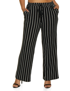 Plus Size Textured Knit Striped Pants by Rainbow