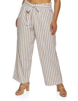 Plus Size Striped Tie Waist Linen Pants by Rainbow