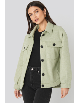 Front Pocket Oversized Jacket Green by Na Kd