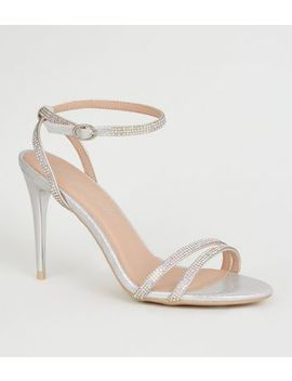 Silver Shimmer Diamanté Strappy Stilettos by New Look
