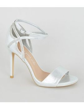 Wide Fit Silver Shimmer Diamanté Strap Stilettos by New Look