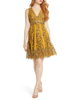 Embroidered Lace Fit & Flare Dress by Foxiedox