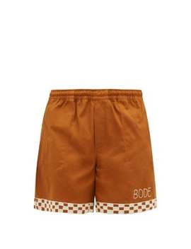 Checkerboard Embroidered Cotton Shorts by Bode