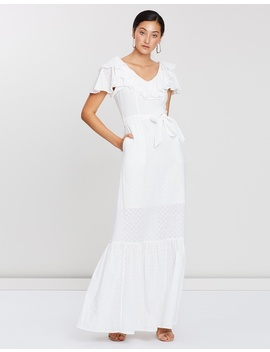 Ditsy Cotton Anglaise Ruffled & Belted Gown by Perseverance