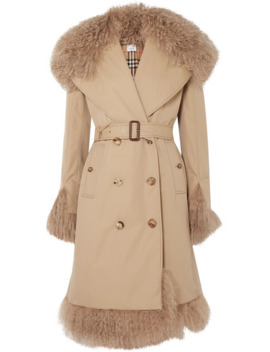 Double Breasted Shearling Trimmed Cotton Gabardine Coat by Burberry