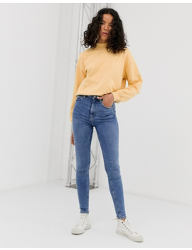Weekday High Waisted Skinny Jeans In Mid Blue by Weekday