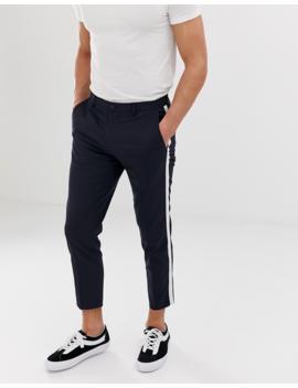 Burton Menswear Tapered Trousers With Side Stripe In Navy by Burton Menswear London