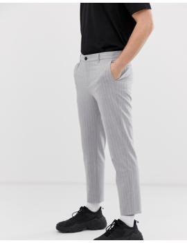 Bershka Skinny Pinstripe Trousers With Cropped Leg In Grey by Bershka
