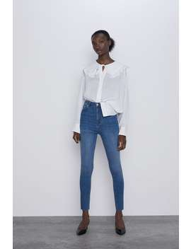 Jean Zw Premium Taille Haute Skinny Sunrise Blue Taille Haute Jeans by Zara