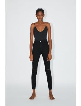 Jegging Taille Haute Super Élastique À DÉchirures Taille Haute Jeans by Zara