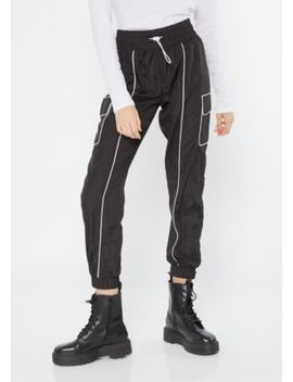 Black Drawstring Piping Cargo Joggers by Rue21