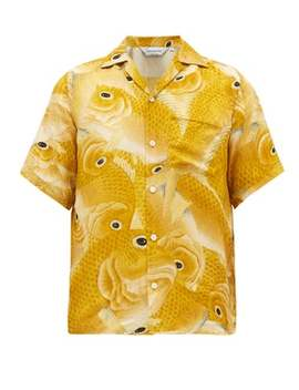 Hundred Gold Snapper Print Silk Shirt by Nipoaloha